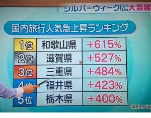 国内旅行人気上昇ランキング