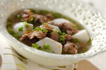 牛肉を使ったレシピ 里芋と牛肉のスープ