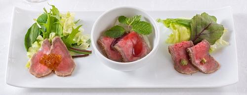 松阪牛会席 前菜 ローストビーフの3種盛合せ